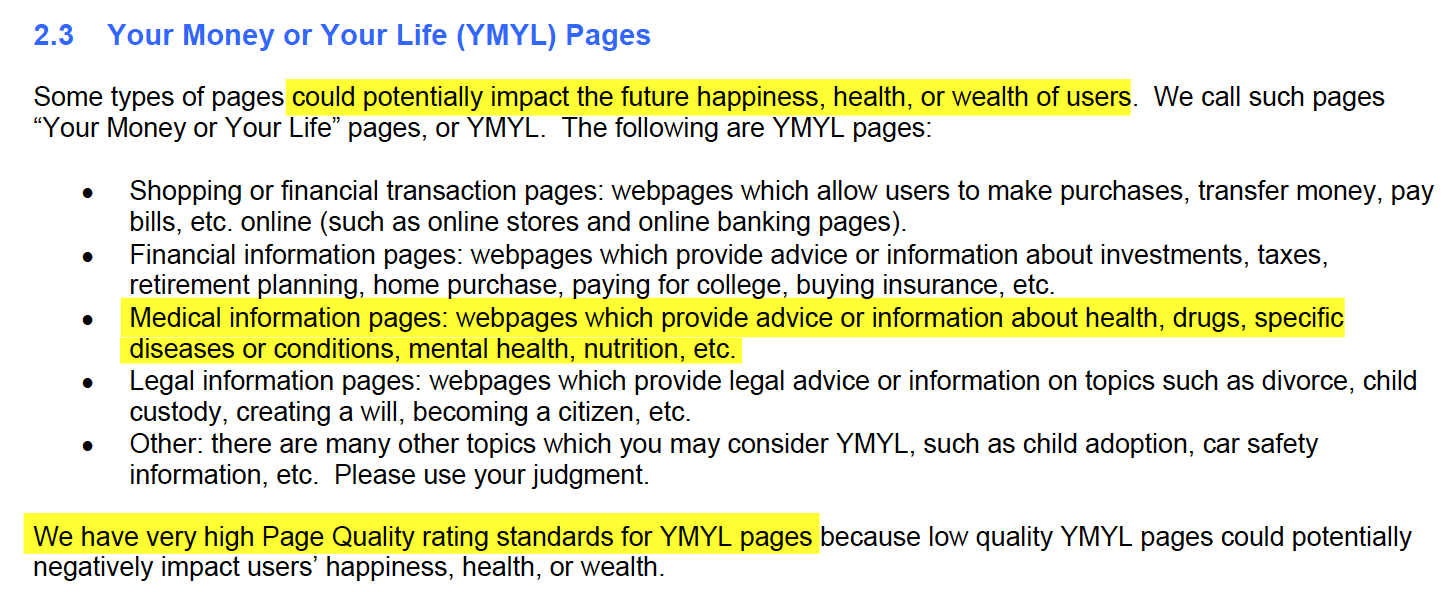 YMYL guidelines